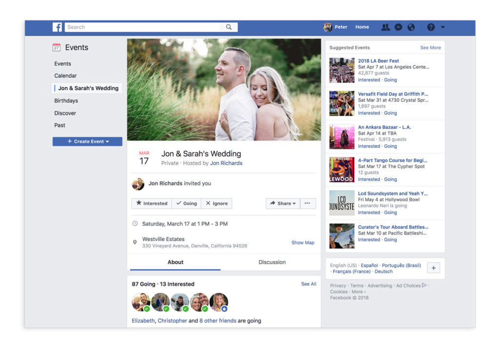 facebook event page for weddings