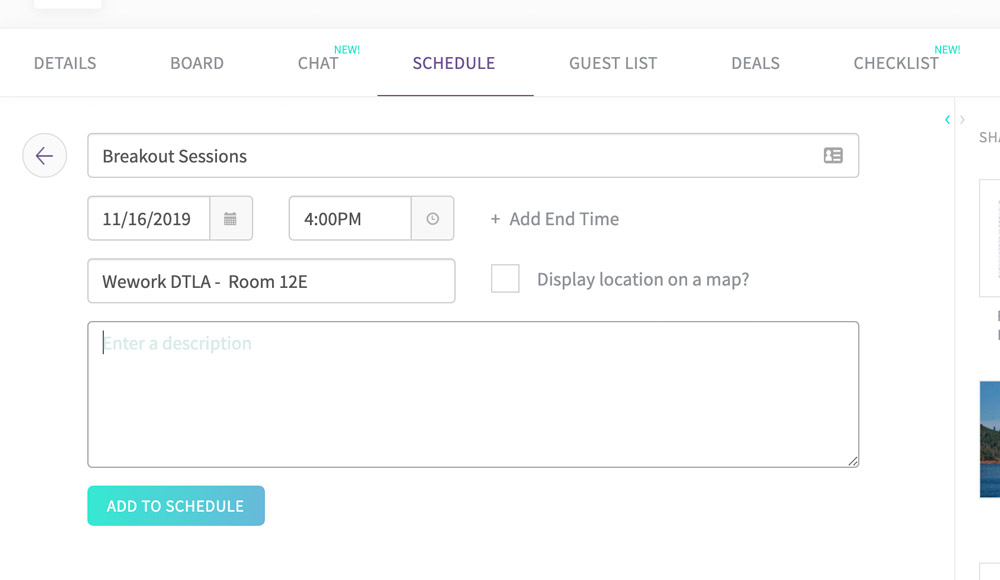Create a schedule for an event